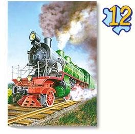 Пазл 4 в 1 Поезд, Боллид, Экскаватор, Пожарная машина 8 эл, 12 эл, 15 эл, 20 эл. - 1
