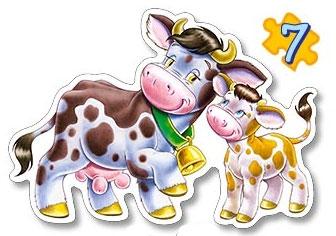Пазл 4 в 1 Животные с малышами 4 эл, 5 эл, 6 эл, 7 эл. - 1